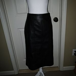 Ivanka Trump Faux Leather Skirt Sz. 16 Gold zipper